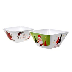 Melamine Bowl Square Medium Xmas 2 Asstd
