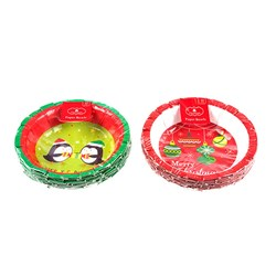 Paper Bowl 170mm Xmas Printed 10pk 2 Asstd