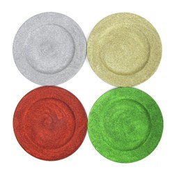 Charger Plate Decoration 33cm w Glitter Xmas 4 Asstd