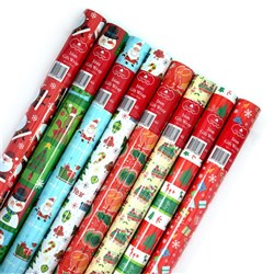 Wrap Paper Xmas 16Mx70cm 60gsm 38mm Core PDQ Asstd