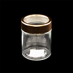 Glass Jar Rose Gold Window Lid 330ml 10.5cm x 8.2cm Dia