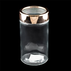 Glass Jar Rose Gold Window Lid 550ml 15.5cm x 8.2cm Dia