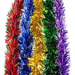 Tinsel Xmas PET 110mm 2M 7Ply Chunky Sawtooth Tips Asstd