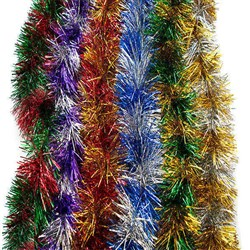 Tinsel Xmas PET 110mm 2M 7Ply Stripes Asstd