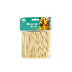 Cocktail Picks Bamboo 10cmx2mm Pk200