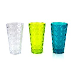 Faux Crystal Tumbler Tall PS 3 Asstd Cols 9x16cm