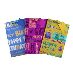 Gift Bag 190gsm HAPPY BIRTHDAY Glitter Foil W Jhook Large