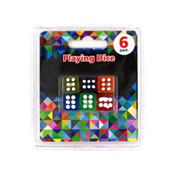 Dice Coloured 6pk