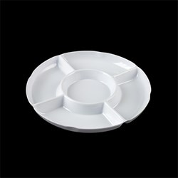 Melamine Tray Dip Round White 5 Section 33cm