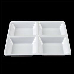 Melamine Tray Dip Square 4 Section 21.5x21.5x1.7cm