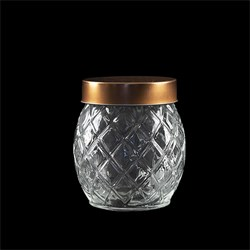 Glass Jar Pineapple w Rose Gold Lid 850ml 11.5x13cm