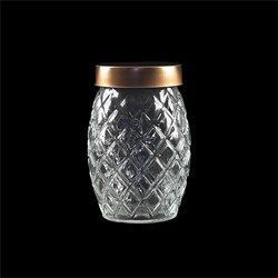 Glass Jar Pineapple w Rose Gold Lid 1160ml 11.5x17.5cm