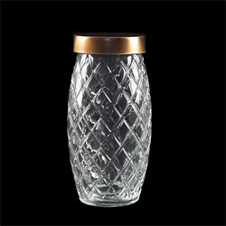 Glass Jar Pineapple w Rose Gold Lid 1700ml 11.5x23.5cm