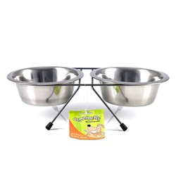 Bowls Pet Double Diner S.Steel Medium w Black Stand