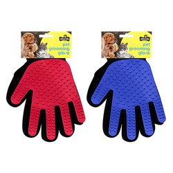 Pet Grooming Glove Brush 2 Asstd Colours Blue / Red