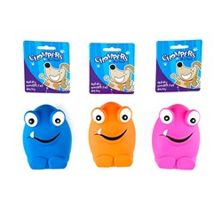Dog Toy Monster Face Squeaky 3 Asstd Colours