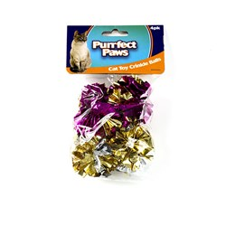 Cat Toy Foil Crinkle Balls Pk4