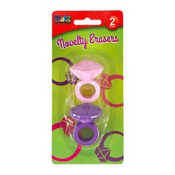 Eraser Ring Shaped Purple Pink 2pk