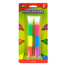 Highlighter Pen 2pk Swap Stack Mixed Cols Bullet Tip