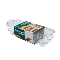 Organiser Pantry Egg Tray w Lid PS Clear 11.5x32.5cm