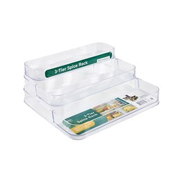 Organiser Pantry 3 Tier Spice Rack PS Clear 24.5 x 25.5cm
