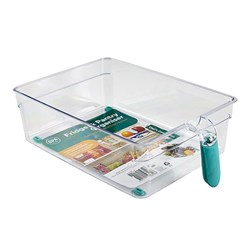 Organiser Pantry Bin w Handle PS Clear 27.5x20x8.5cm
