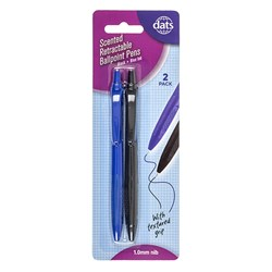 Pen Ballpoint Retract Scented w Grip 2pk Mixed Black Blue