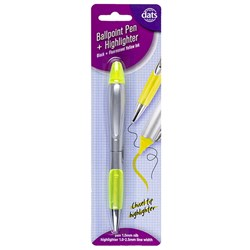Pen Ballpoint Highlighter Dual Tips 1pk Black Ink Yellow HL