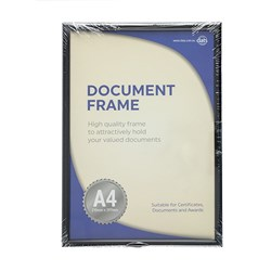 Frame Document Certificate Black A4 w Hooks & Stand