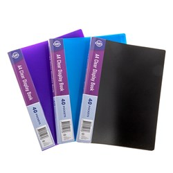 Clear Book PP Cover A4 40 Pockets Asstd Cols