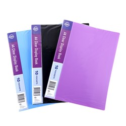 Clear Book PP Cover A4 10 Pockets Asstd Cols