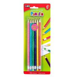 Pencil Glitter Barrel HB 6pk w Eraser