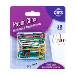 Clip Paper 50mm 30pk Mixed Cols PVC Coating