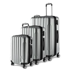 Luggage Set 3 ABS - Expandable 4 Wheels 48 / 58 / 68cm Silver