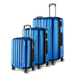 Luggage Set 3 ABS - Expandable 4 Wheels 48 / 58 / 68cm Blue