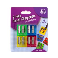 Sharpener Pencil 2 Hole 4pk Mixed Cols