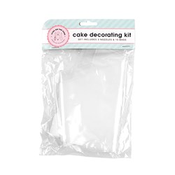 Cake Decorating Kit Disposable Bag Pk10 w Nozzles Set of 3