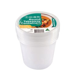 Container Plastic Clear 700ml Round Pk5 11.7x10cm