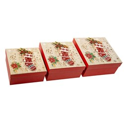 Gift Box Xmas Set 3 Square w Glitter Foil Layer Traditional