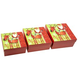 Gift Box Xmas Set 3 Square w Glitter Foil Layer Cute