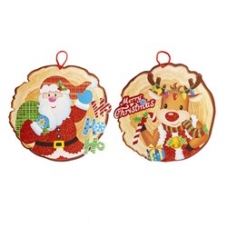 Decoration Hanging Paper EVA Glitter Xmas Asstd Characters