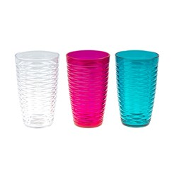 Faux Crystal Weave Tumbler Tall PS 3 Asstd 9x15cm