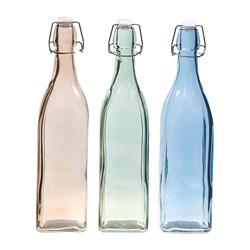Glass Bottle Coloured Square 950ml 3 Asstd Cols