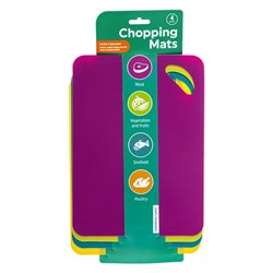 Chopping Mat Flexible Multicolour Pk4 20.5x28cm