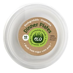 Eco Friendly Plate Dinner 23cm White Pk10