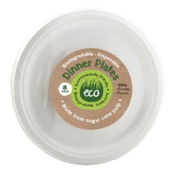 Eco Friendly Plate Dinner 26cm White Pk8
