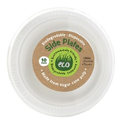 Eco Friendly Plate Side 18cm White Pk10