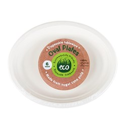 Eco Friendly Plate Oval 30x23cm White Pk6