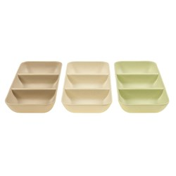 Matte Melamine Bowl Snack 3 Section 3 Asstd  25x12x3.7cm