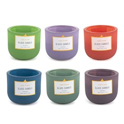 Candle in Glass Jar 6 Asstd Cols 2 Scents 10Hour 7.2x6cm